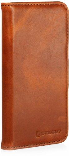 Funda de cuero genuino Stilgut Talis Book Type para Apple iPhone5 & iPhone SE de cuero original con compartimiento para tarjetas de crédito y de visita, Cognac Cognac