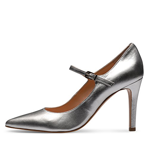 para Zapatos Evita Shoes mujer Plateado vestir plateado Piel de de 6Tgq5Yw