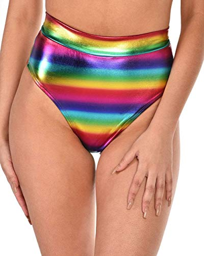 iHeartRaves Cosmic Rainbow Metallic High Waisted Booty Shorts (X-Large)