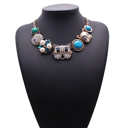 Koson-Man Animal Style Turquoise Jewelry Necklace Hot Fashion Filigree Necklaces(Blue) (Homemade Costumes Tin Man)