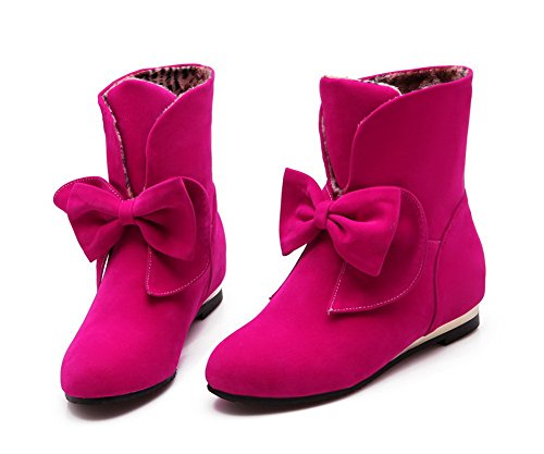 AllhqFashion Womens Imitated Suede Low-top Solid Pull-on Low-Heels Boots Rosered 6NwHCzOd53