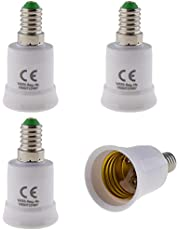 Set van 4 - E14 fitting op E27 fitting lampvoet adapter; lampadapter voor LED halogeen en energiebesparende lampen