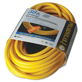 Polar/Solar Outdoor Extension Cord, 50ft, Three-Outlets, ...