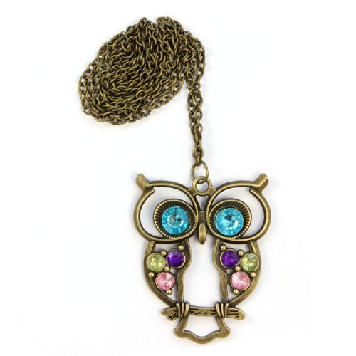 OWMEOT Fashion Women's Owl Crystal Jewelry Pendant Blue Chain Long Necklace Sweater Chain (Blue)