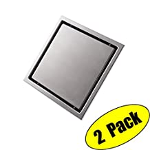KES Invisible Tile-in Drain 6-Inch by 6-Inch SUS 304 Stainless Steel Rustproof with Strainer 2 Pack, V252S15-P2
