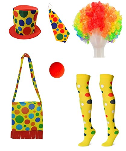 Clown Costume Hat + Shoulder Bag + Tie + Clown Nose + Rainbow Wig + Socks 6-Piece Set(XC-Mao)]()