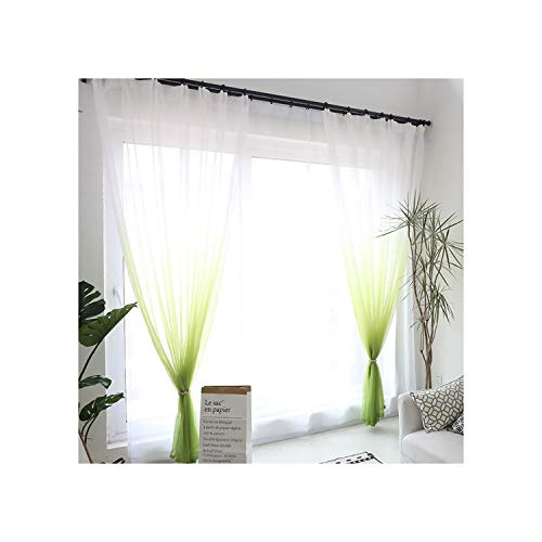 - Holiday-Online-Store 3D Printed Sheer Curtains Tulle Drapes for Living Room Bedroom Kitchen Curtain Window Treatment Voile Curtains Door Decorations,Green Tulle,W100xL250cm,3 Pull Pleated Tape