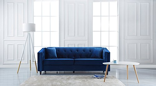Classic Victorian Style Tufted Velvet Sofa, Living Room Couch with Tufted Buttons (Blue)