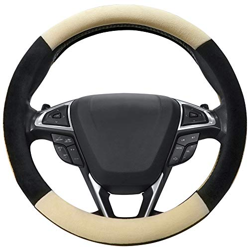 SEG Direct Beige Plush Winter Auto Car Steering Wheel Cover Universal 15 ()