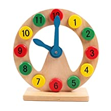 Deercon Wooden toy gift Montessori Early Learning wood clock digital cognitive time game