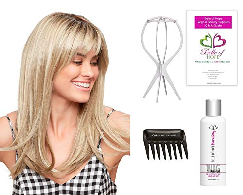 Bundle 5 PC:Camilla Double Mono Hand Tied Synthetic Wig by Jon Renau, Wide Tooth Comb, Mara Ray Luxury Shampoo, Plastic Wig Stand, 19 Page Belle of Hope Q & A Booklet (12FS8) -  Jon Renau, Kashmir Keratin