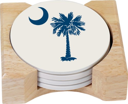 (CounterArt Palmetto Blue Design Round Absorbent Coasters in Wooden Holder, Set of 4)