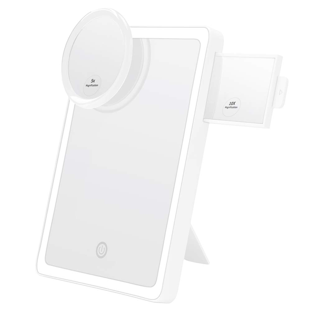 Upgraded KEDSUM LED Lighted Makeup Mirror with 4 LED Tape-lights, 7 x 9.8 Larger Vanity Mirror with Lights, Dimmable Daylight, Come with 5X Magnification Pocket Mirror, USB or Batteries Operated