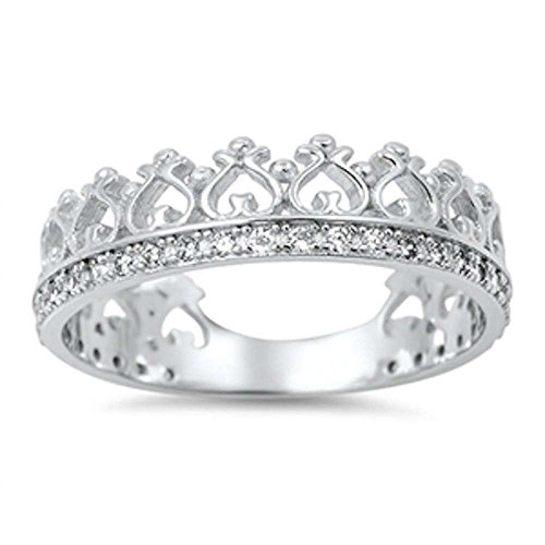 Cubic Zirconia Crown Eternity Band .925 Sterling Silver Ring Size 6 (Crown Ring Sterling Silver compare prices)