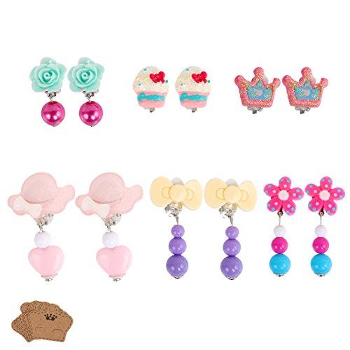kilofly 6 Pairs Girls Princess Party Favor Jewelry Clip On Earrings Value - Princess Disney Earrings