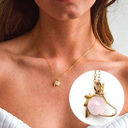 14K Gold Rose Quartz Crystal Unicorn Charm - Handmade Pink Quartz Pendant Necklace | Love Stone - Festival Season Jewelry