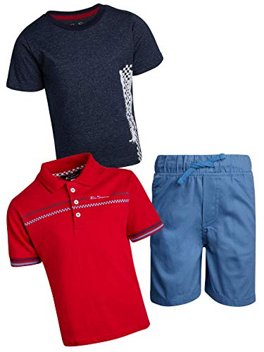 Tan Short Set - Ben Sherman Boys\' 3-Piece T-Shirt, Knit Polo and Short Set, Light Blue/Red/Blue, Size 4T'