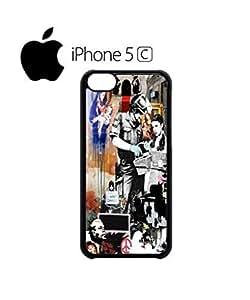 LJF phone case Banksy Street Art Graffiti Mobile Cell Phone Case Cover iphone 4/4s Black