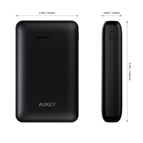 AUKEY 10000mAh convenient Charger Streamline fashion energy Bank utilizing combined Outputs Battery Pack for iPhone X 8 Plus Samsung Galaxy S8 S8 and a great dea Black vacationing Chargers