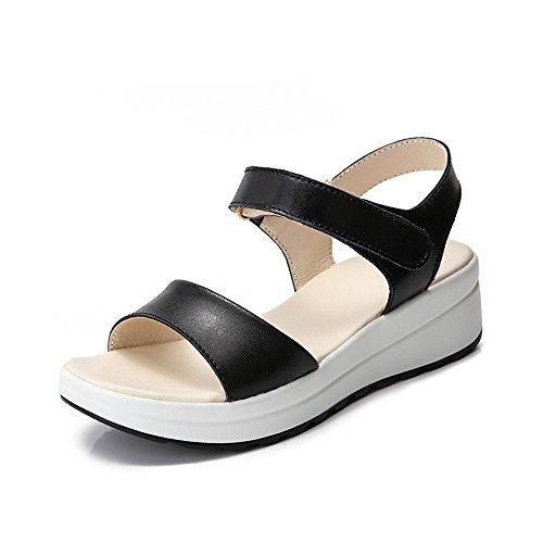 Sandalias Cuero Color 37 Abierta Simple Playa 1 de Sandalias de Blanco EU Tamaño 3 Shymamamiya de Punta de Verano Blanco Romanas 1Xgpxw