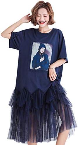 女性用ドレス 快適なミドル丈ワンピースファッション柄半袖ルーズ大型ドレスブルー(レジャー/ストリート/デイ/ファミリー)