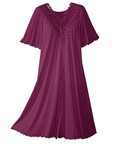 Shadowline Women's Beloved 41 Inch Flutter Sleeve Waltz Robe, Magenta, Small