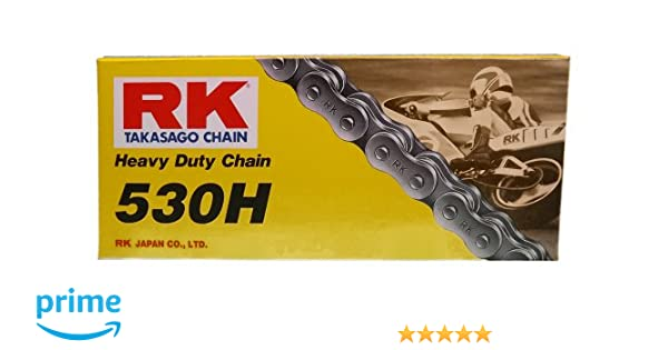 RK Racing Chain M530HD-108 530 Series 108-Links Standard Non O-Ring Chain with Connecting Link