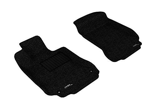 3D MAXpider Front Row Custom Fit Floor Mat for Select Mercedes-Benz C-Class Models - Classic Carpet (Black)