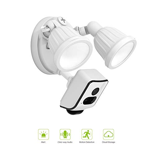 Freecam HD 1080P Floodlight Camera Motion-Activated HD Security Cam with 16GB SD Card for Free and Cloud Storage,One-Way Talk L800C White