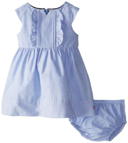 Nautica Baby-Girls Infant Pinstripe Cap Sleeve Dress  with Panty, Classic Blue, 18 Months