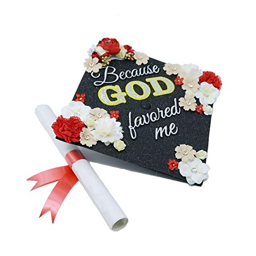 GradWYSE Handmade Graduation Cap Topper Graduation Gifts Graduation Cap Decorations, Because God Favored Me Black