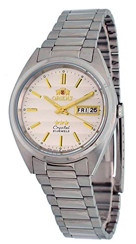 21 Jewels Orient Automatic - Orient #FAB00007W Men's 3 Star Stainless Steel Silver Dial Day Date Automatic Watch