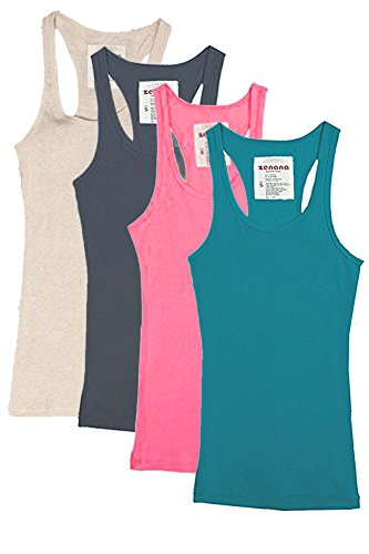 Zenana Outfitters 4 Pack Womens Basic Ribbed Racerback Tank Top (4 Pack: Charcoal, Jade, Heather Beige & Neon Pink, Size ()