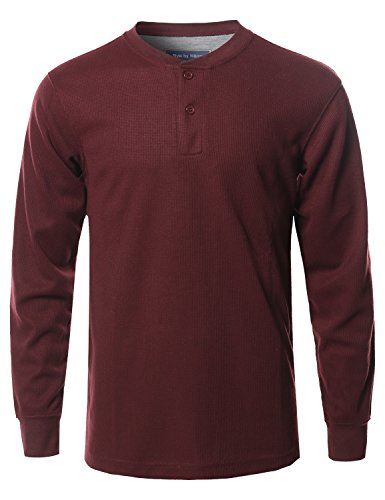 Style by William Solid Basic Henley Neck Thermal Long Sleeve T-Shirt Burgundy (Burgundy Long Sleeve Shirt)