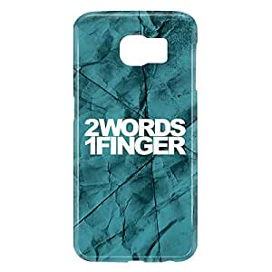 Loud Universe Samsung Galaxy S6 3D Wrap Around 2 Words 1 Finger Print Cover - Blue