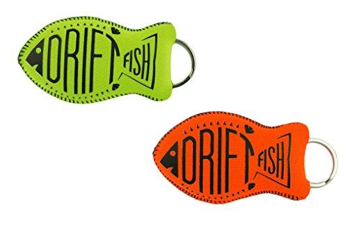 DriftFish Floating Neoprene Boat Keychain Key Float | Jumbo Size - Float 5 to 6 Keys | Waterproof Key Chain Buoy | Great for Boating and Water Sports, Green & Orange