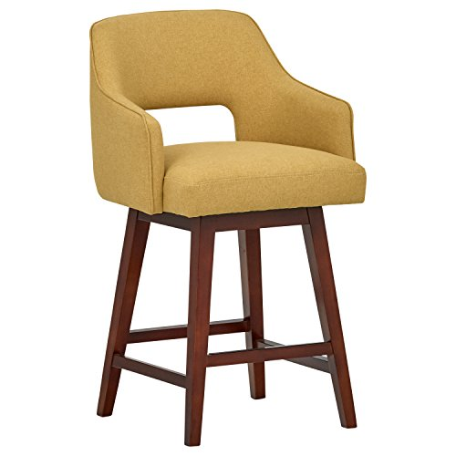 (Rivet Malida Mid-Century Modern Open Back Swivel Kitchen Counter Bar Stool, 37 Inch Height, Canary Yellow, Wood )