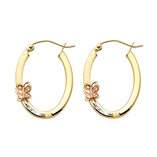 14k Tri Color Gold 1.5mm Thickness Hinged Hoop Earrings (23 x 17 mm) by GoldenMine Fine Earrings