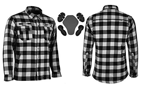 XL, Red and Black Vaster Lumberjack Reinforced Motorcycle Motorbike Check Shirt CE Armoured shirt for Men Boys Removable Protections 4-Colors