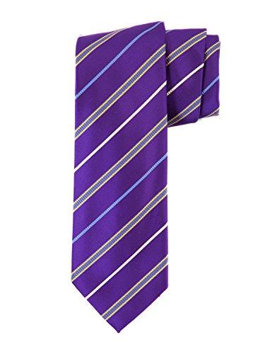 (Robert Jensen Finest Silk Handmade Men's Neck Tie - Mogador - Satin Fancy Stripe (Purple))