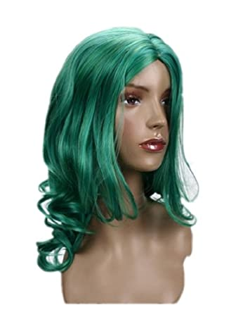 Cosplayland C123 - Sailor Moon Neptune Mittel-parted curly Party mid-long green Wig