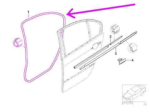 - BMW e46 SEDAN Door Seal Weatherstrip LEFT Rear rubber gasket