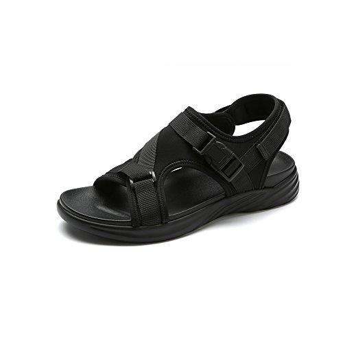YQQ メンズシューズ サンダル スリッパ ビーチの靴 カジュアルシューズ ホリデーシューズ 人 ファッション 滑り止め 夏 居心地の良い 通気性のある (色 : 黒, サイズ さいず : EU38/UK5.5)