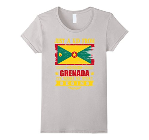 Womens Just a kid from Grenada T-Shirt Large Silver (Grenadians On Halloween)