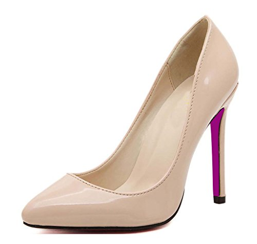CAMSSOO Women's Slip On Pointed Toe Stiletto High Heel Work Dress Party Pump Nude Patent PU 12 US M