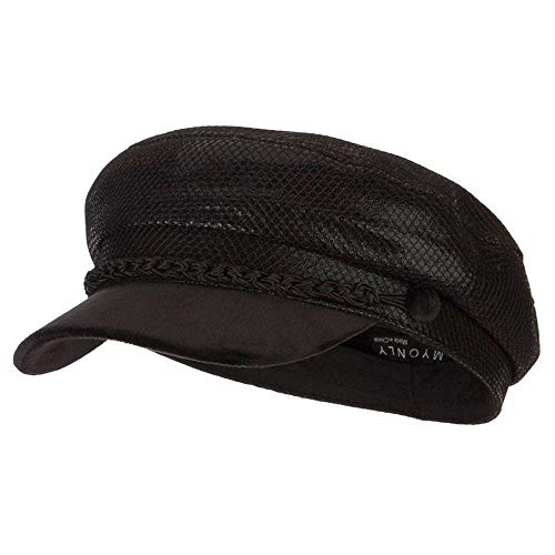 Hat Metallic E4hats - SS/Hat Two Tone Metallic and Velvet Greek Fisherman Cap - Black OSFM