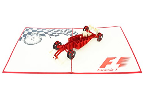 PopLife Formula One Car Pop Up Card for All Occasions - Happy Birthday, Congratulations, Retirement, Work Anniversary, Fathers Day - Race Car Drivers, F1, Ferrari - Folds Flat for Mailing -
