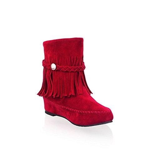 Tacón De Moda Para Mujer De Cuña Interior Botines De Punta Redonda Borlas Botines Rojos