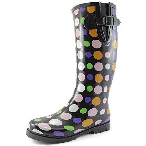 Dames Plas Regen En Snowboots Multi Kleur Mid-kalf Kniehoge Waterdichte Regenlaarzen Multi-dot