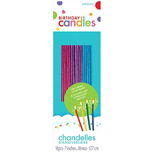 Amscan (Amsdd Thin Novelty Glitter Birthday Candles (Piece), Pink/Purple/Blue, 648 by Amscan